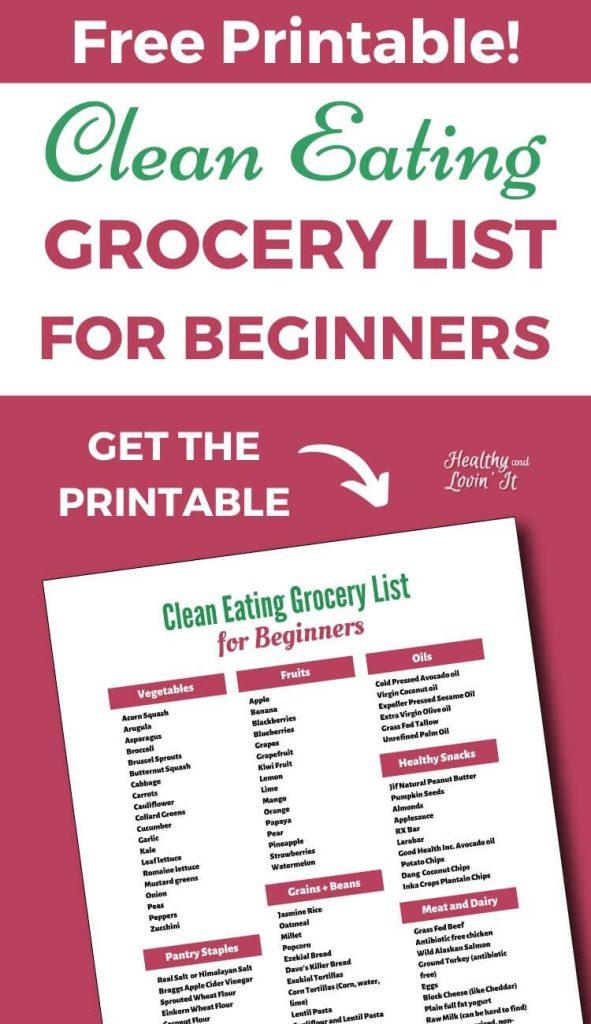 printable clean eating grocery list pdf