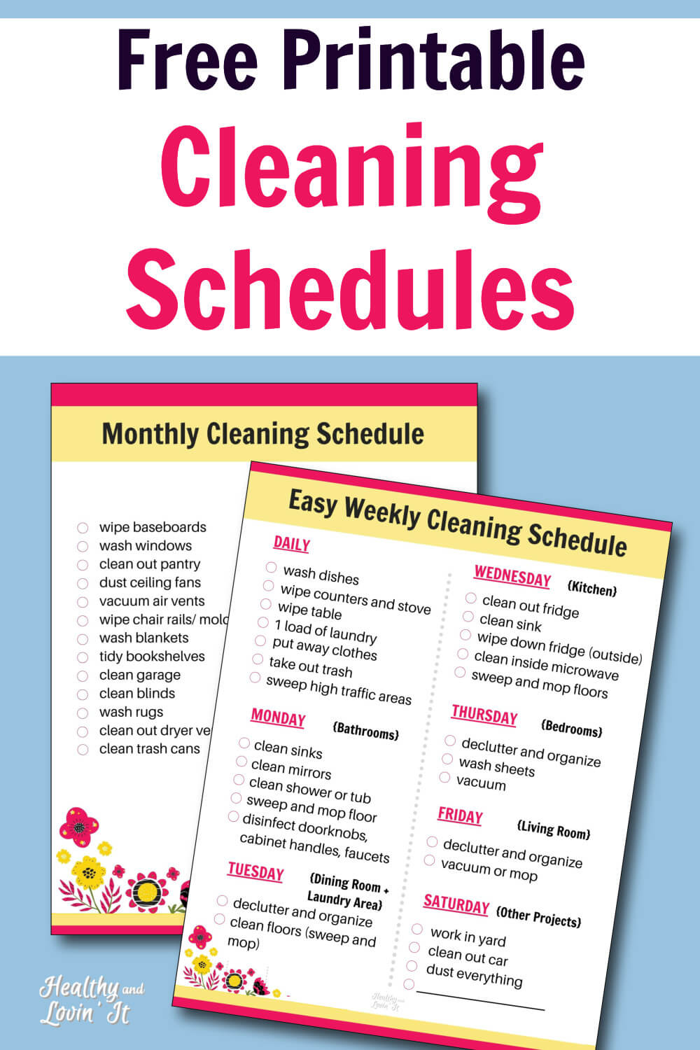 Free Printable Cleaning Schedule Daily Weekly And Monthly Checklists