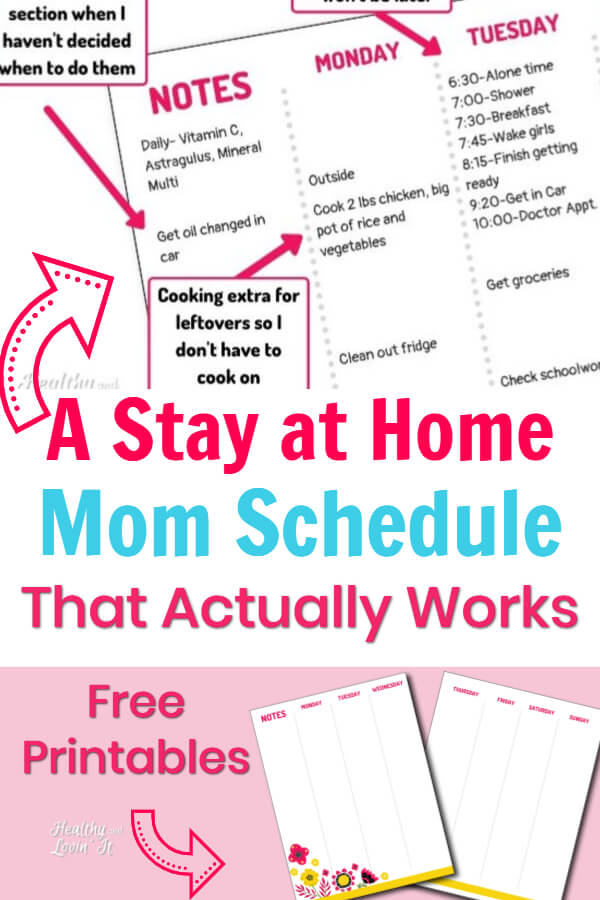 stay at home mom daily schedule template pdf