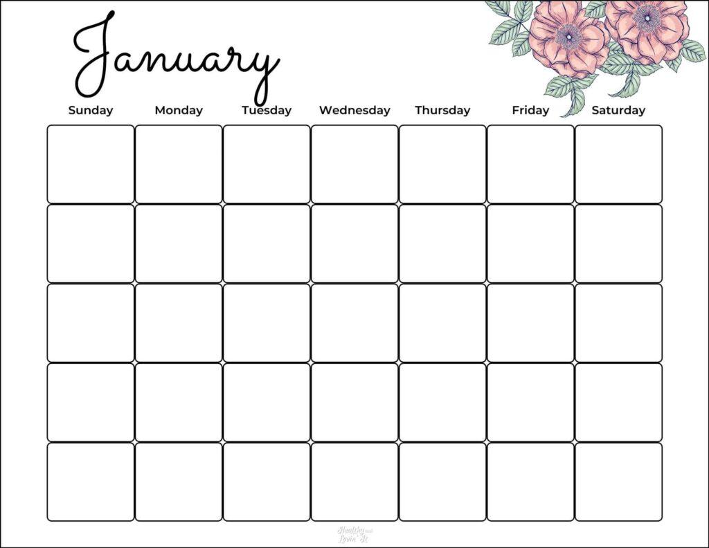 blank calendar pdf