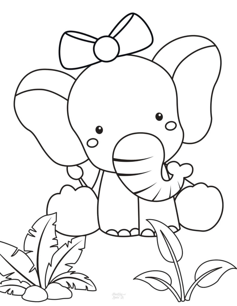 cute baby elephant coloring pages printable