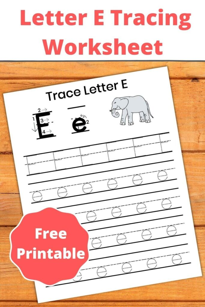 letter e tracing worksheets pdf