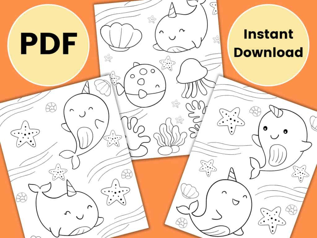 adorable cute narwhal coloring page