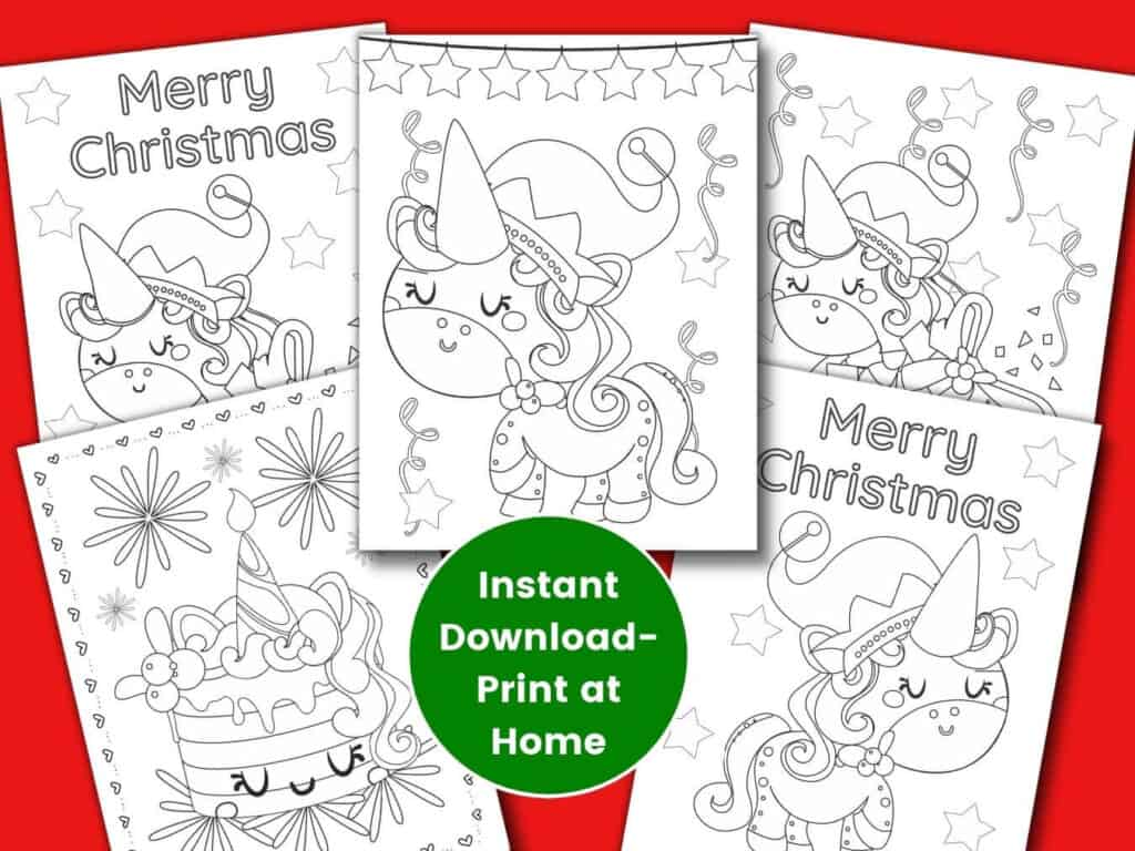 Christmas unicorn with christmas hat coloring pages