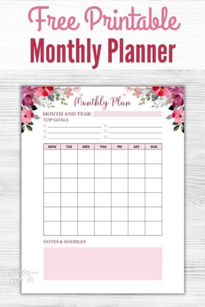 monthly planner printable free