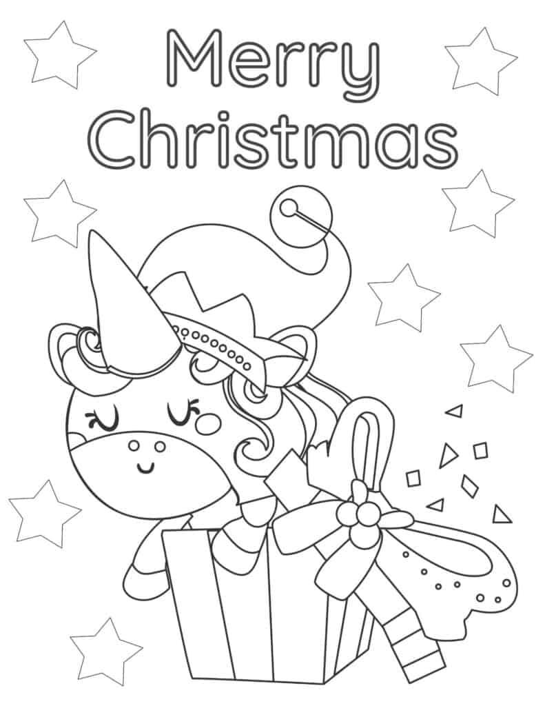 free printable Christmas unicorn coloring page