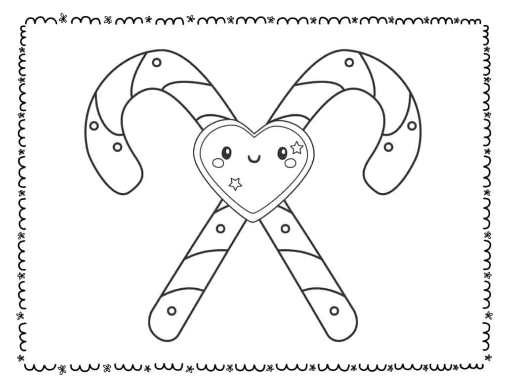 candy cane coloring page heart