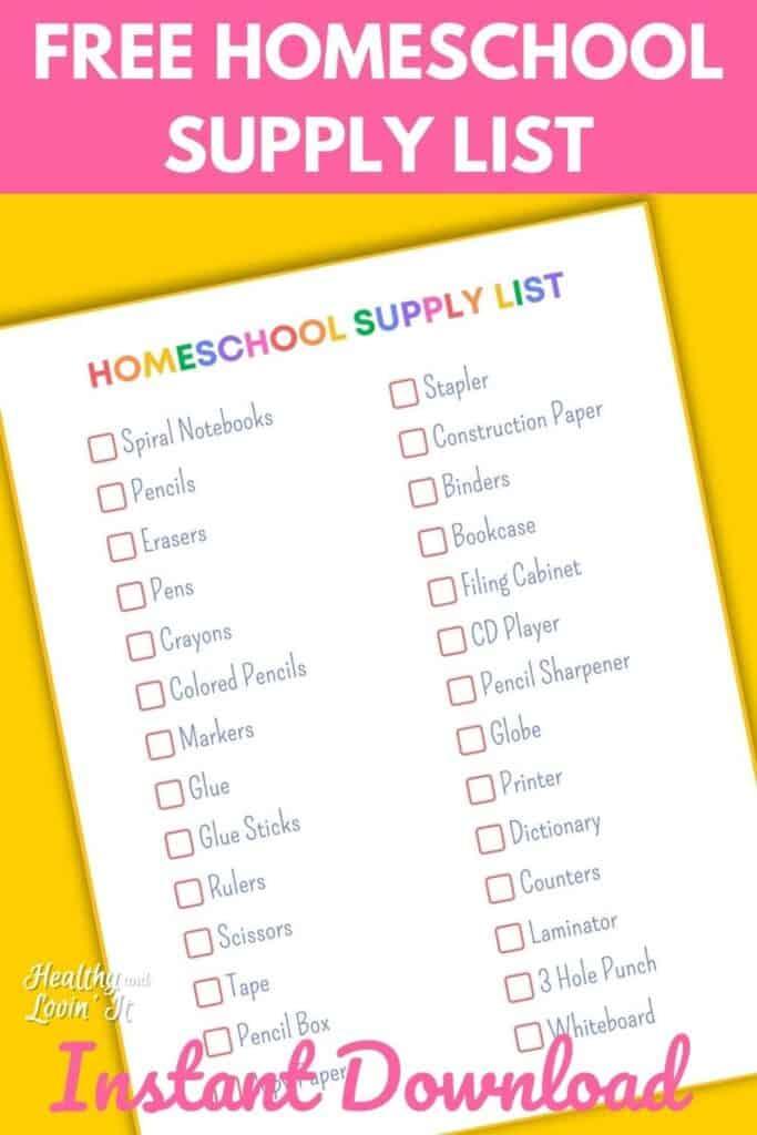 homeschooling supplies list